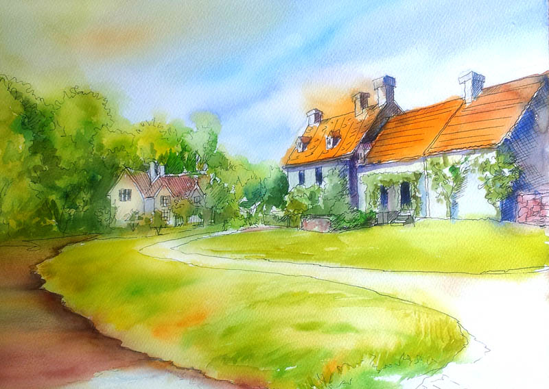 Line Art Watercolor : How wash techniques are used in watercolor paintings