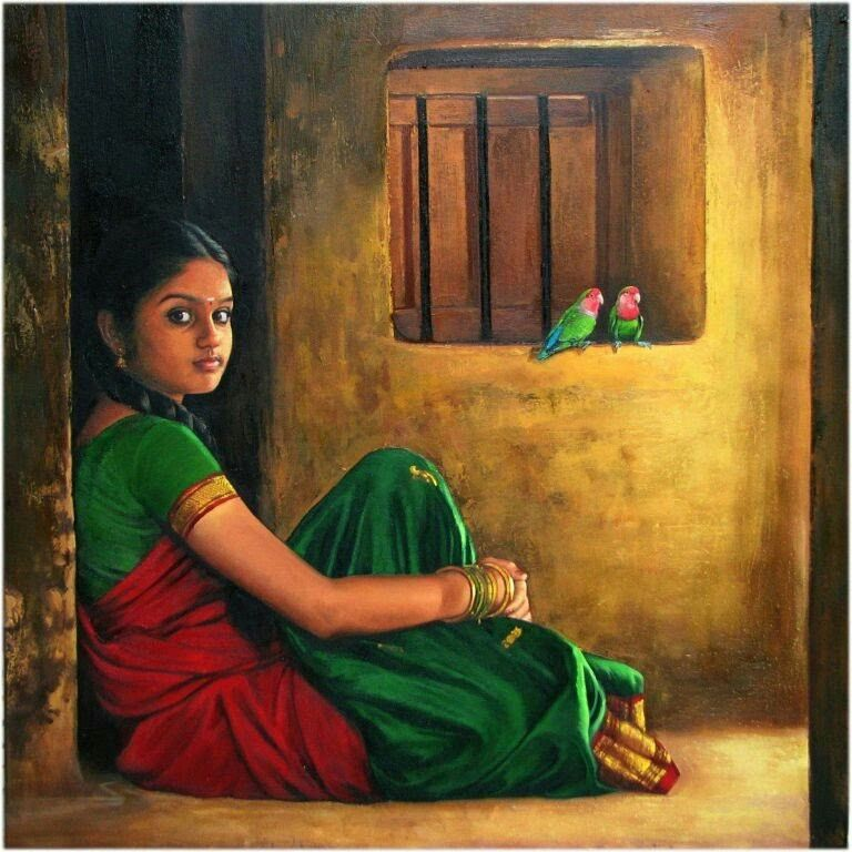 Tamil Girl with her Parrots - Indian Women Paintings