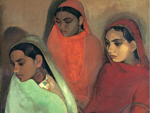 Three girls - Indian Women Paintings