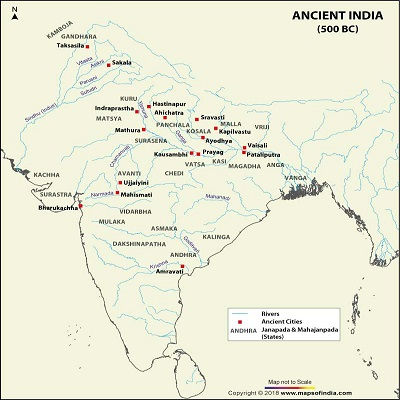 Ancient map of India - Traditional Indian Art