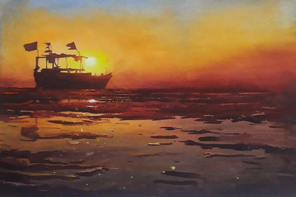 Behind the Ship - Watercolor paintings