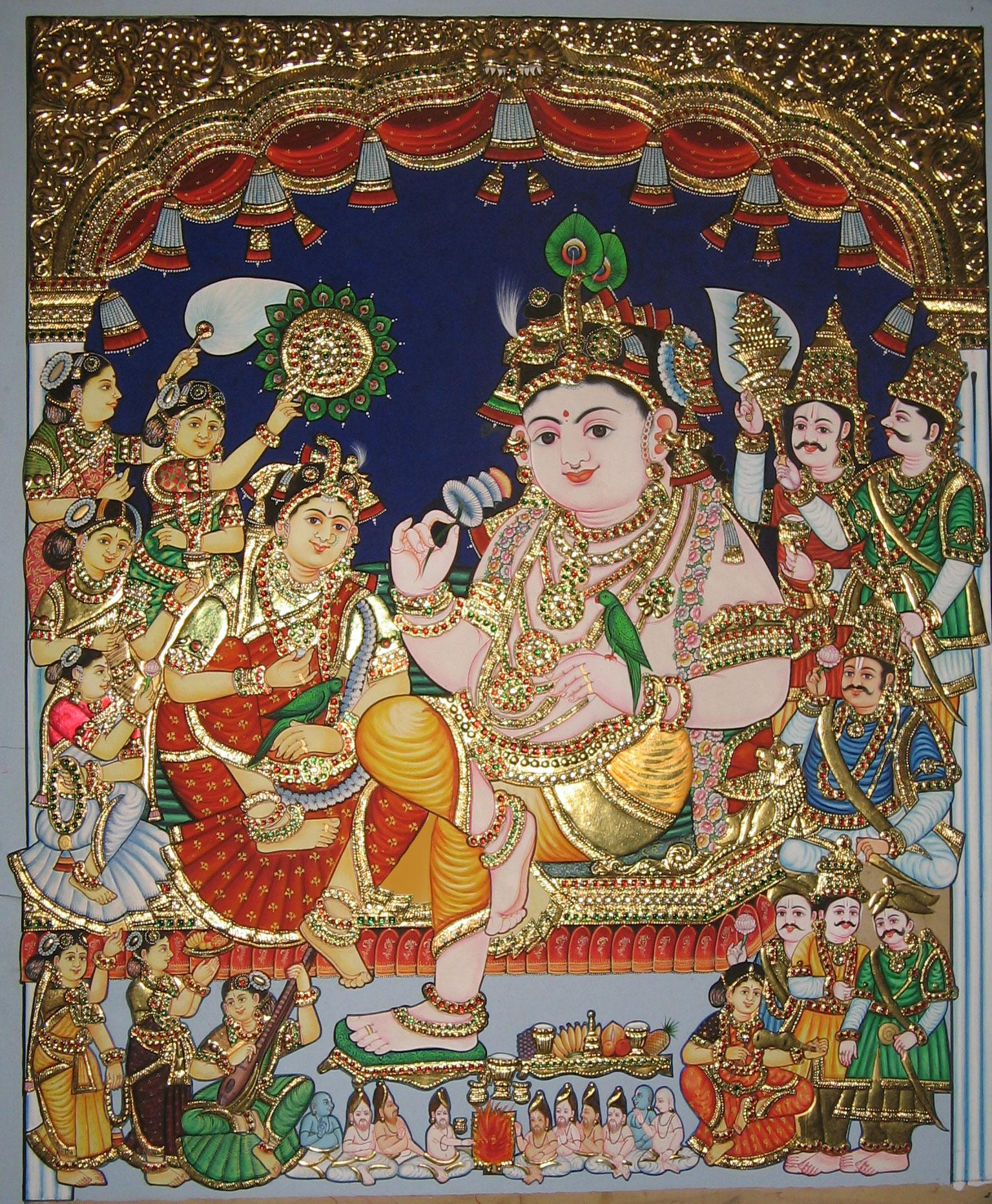 Buy 39 rukmini kalyanam 39 a beautiful painting by indian for Buy art online india