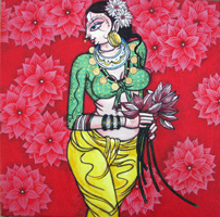 Woman with lotus 1477