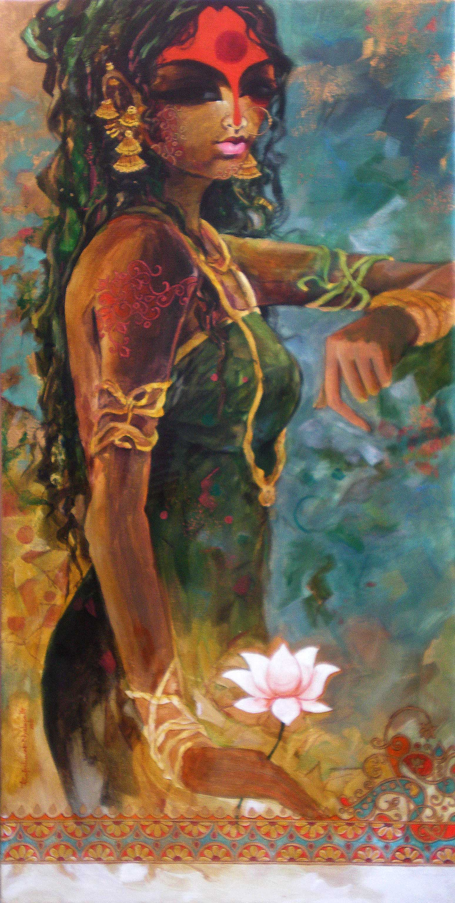 Buy 39 waiting 39 a beautiful painting by indian artist for Buy art online india