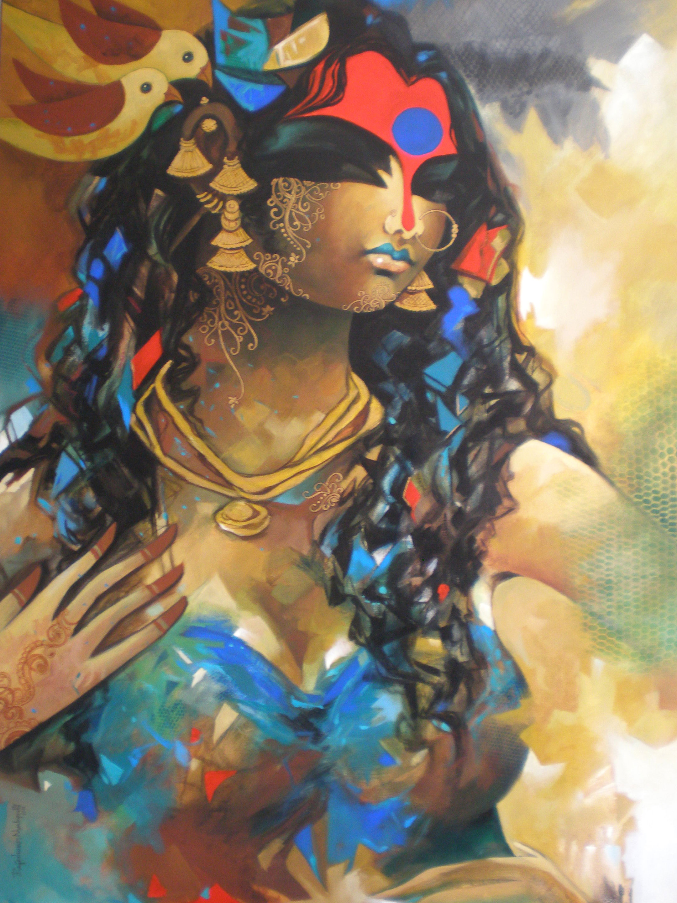 Buy 39 chatting 39 a beautiful painting by indian artist for Buy art online india