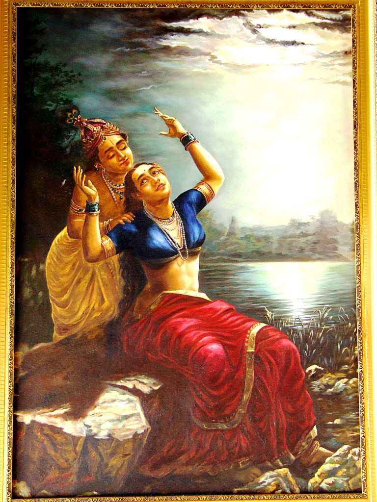 Buy painting radha krishna romance in moonlight artwork no 2963 by indian artist ajit soni - Wall arts images ...