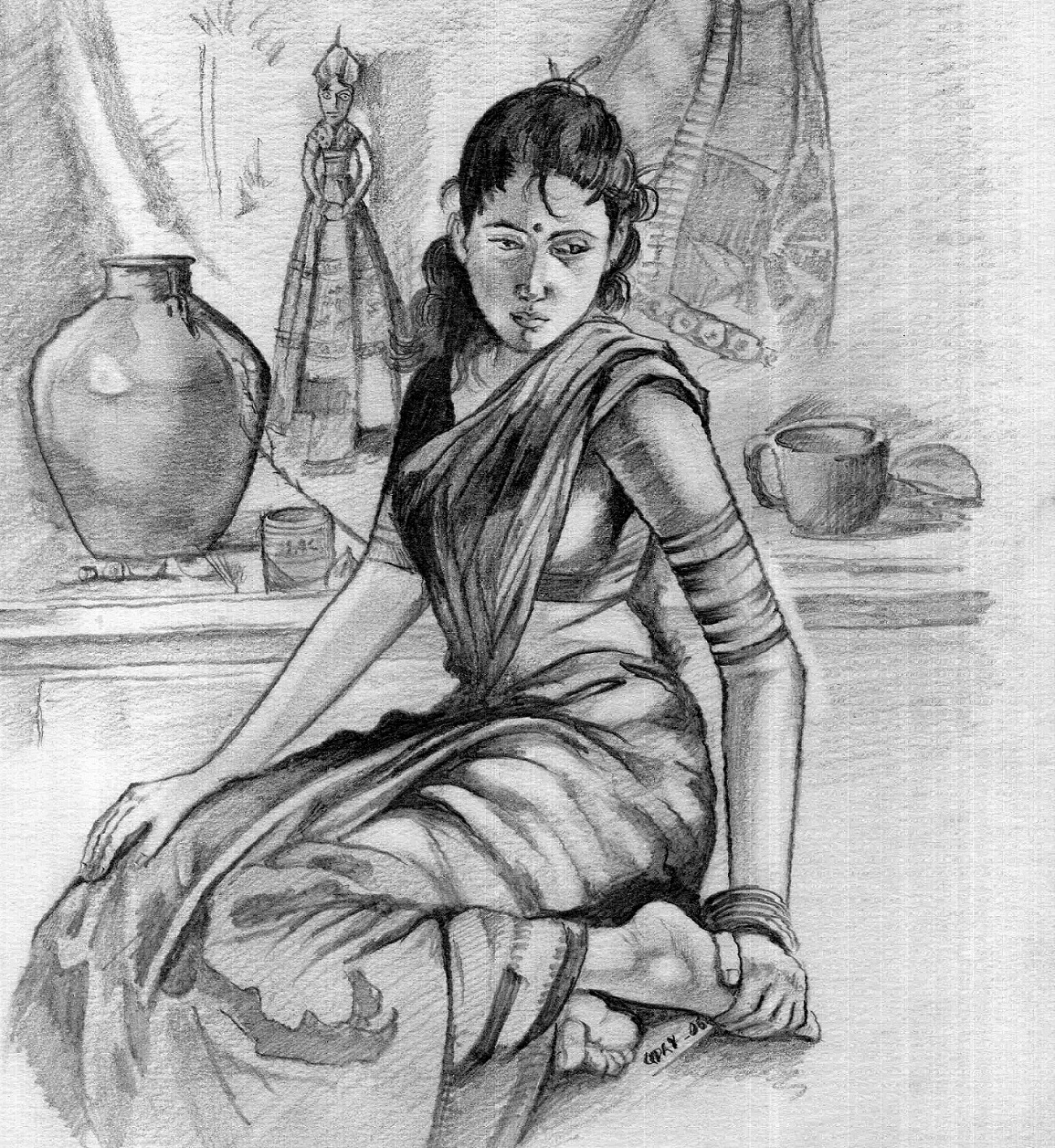Indian Marketplace Drawing Buy Painting Gr...