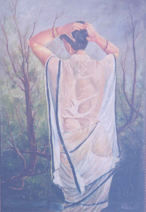 Buy Painting After Bath Artwork No 5175 By Indian Artist