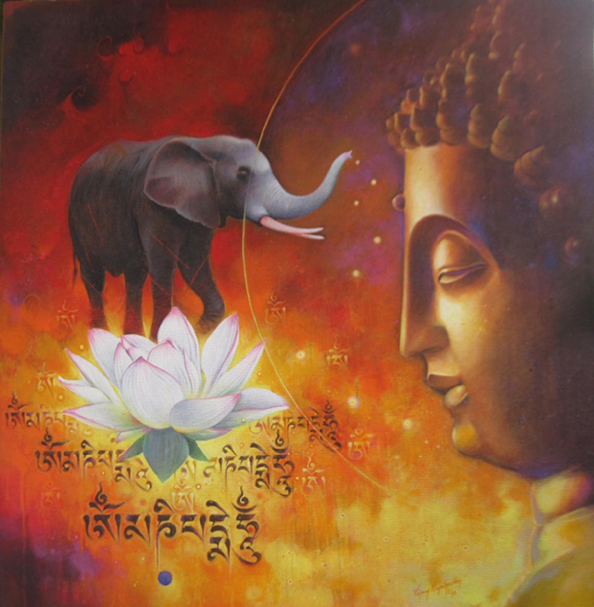 Cruel elephant and calm Buddha 7113