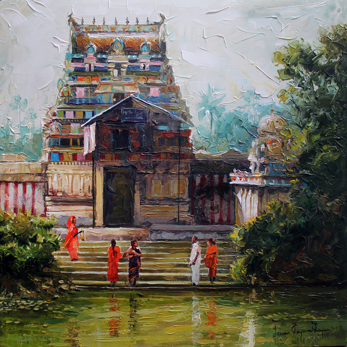 Buy painting village temple artwork no 7194 by indian for Beautiful painting images
