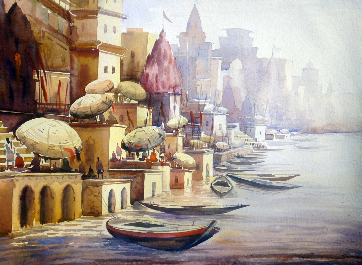 Varanasi Ghat at Morning  -Watercolor on Paper 7465