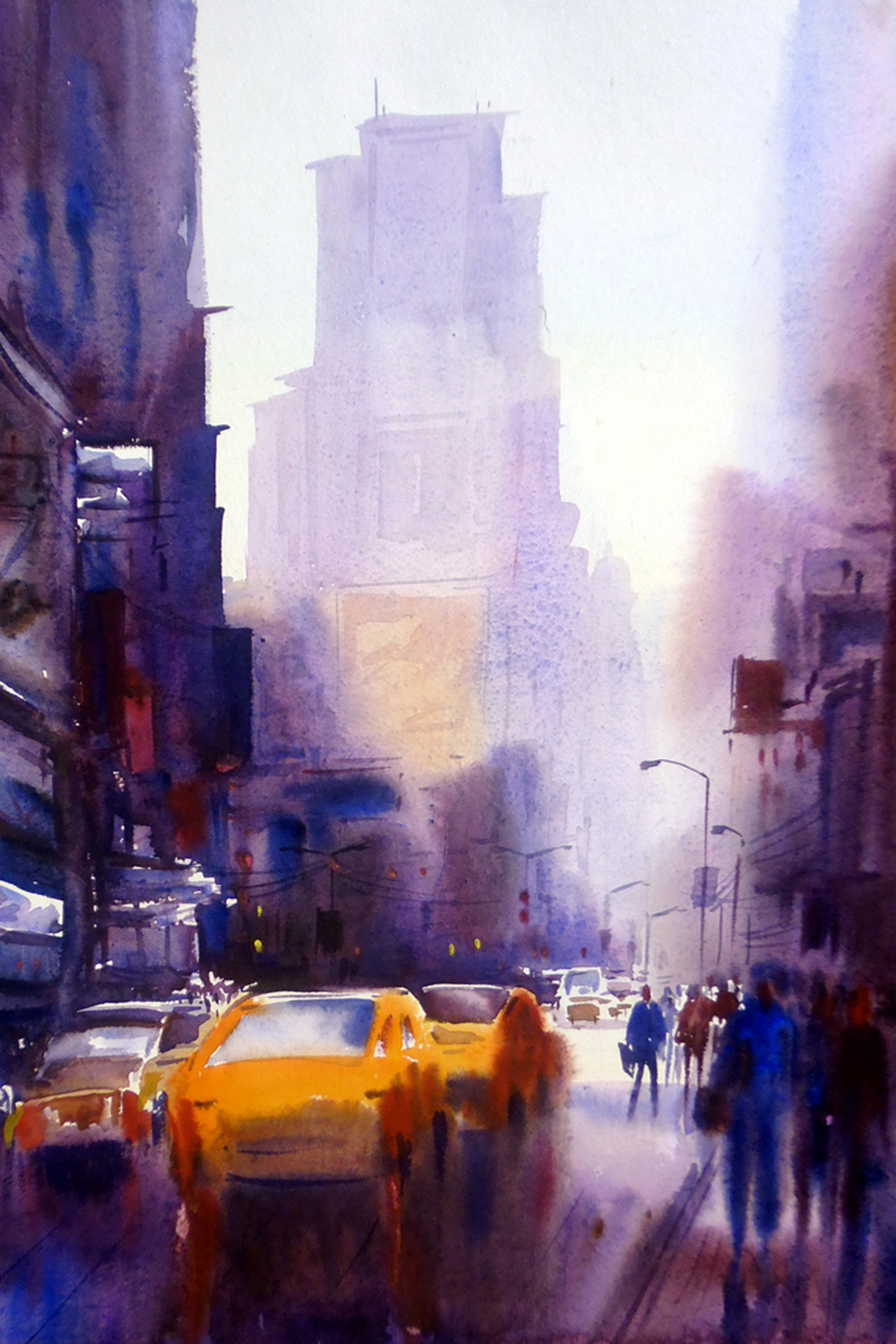 Morning City Street - Watercolor Painting 7466