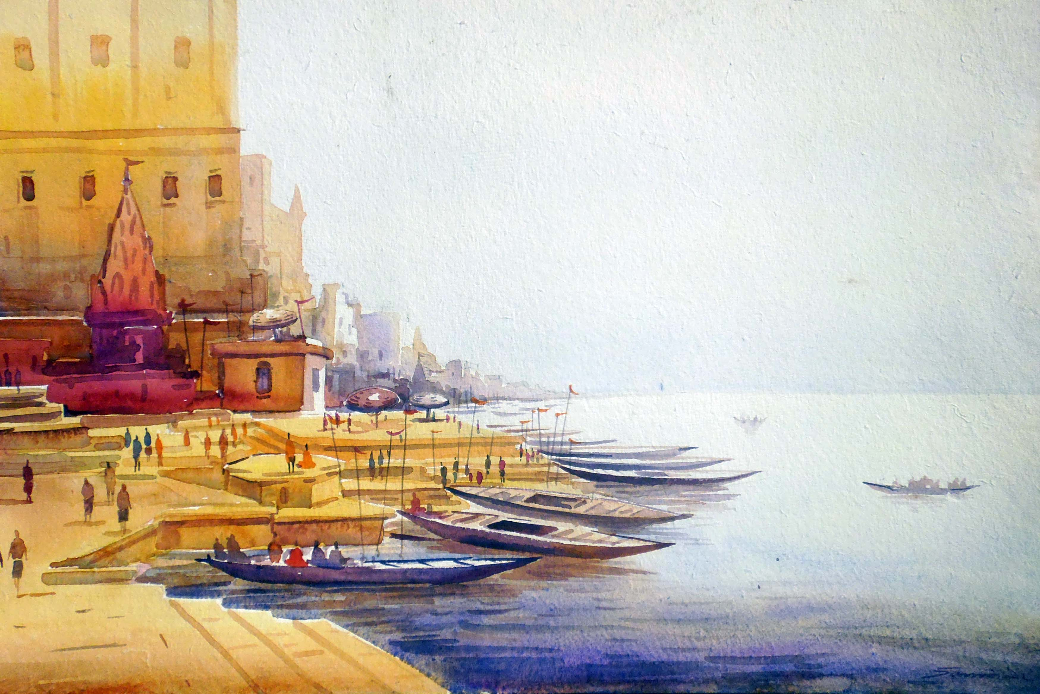 Varanasi Ghat  -Watercolor on Paper 7478
