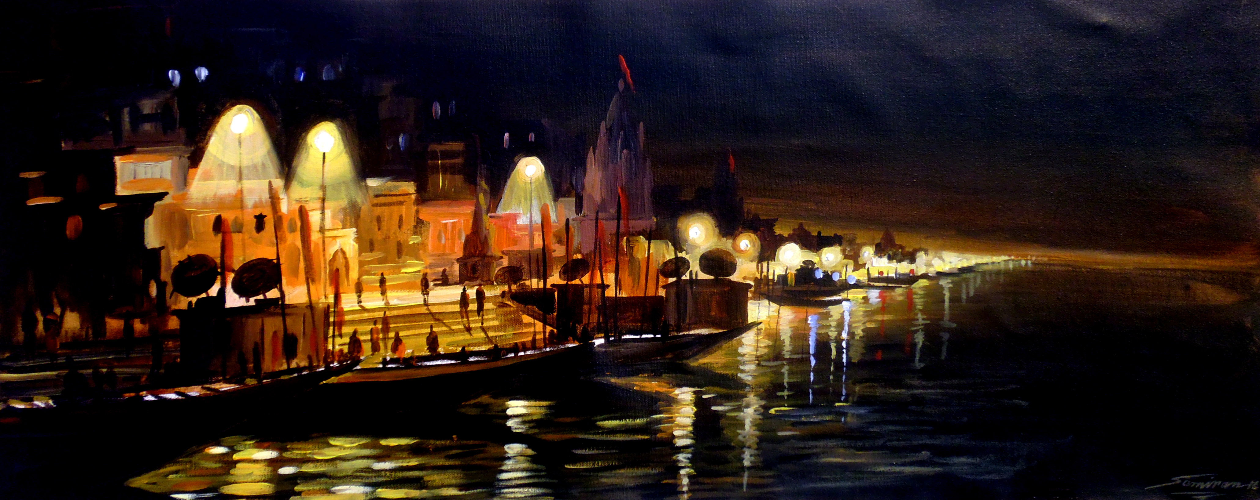 Varanasi Ghats at Night 7750