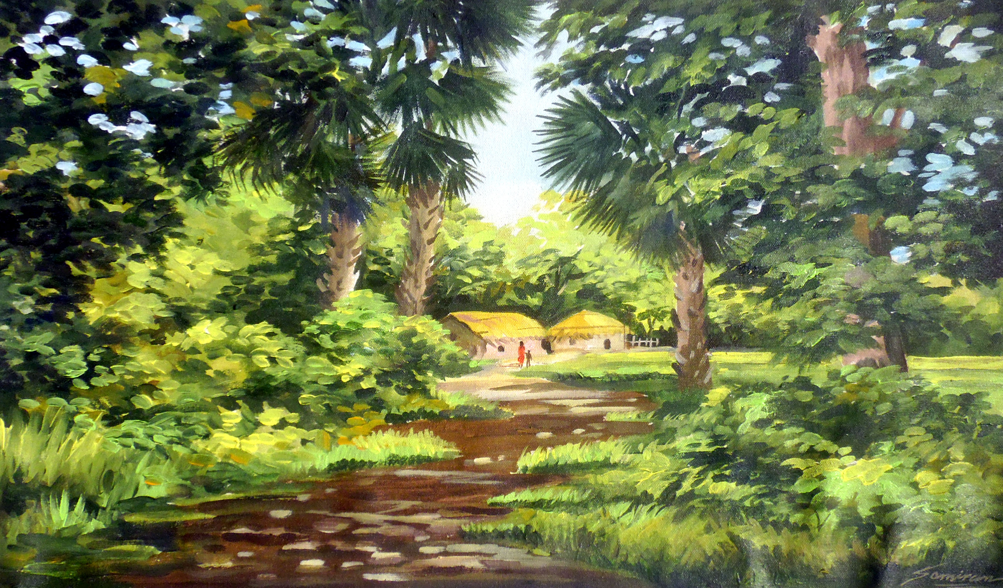 Beauty of Bengal Village - Acrylic on Canvas 7752