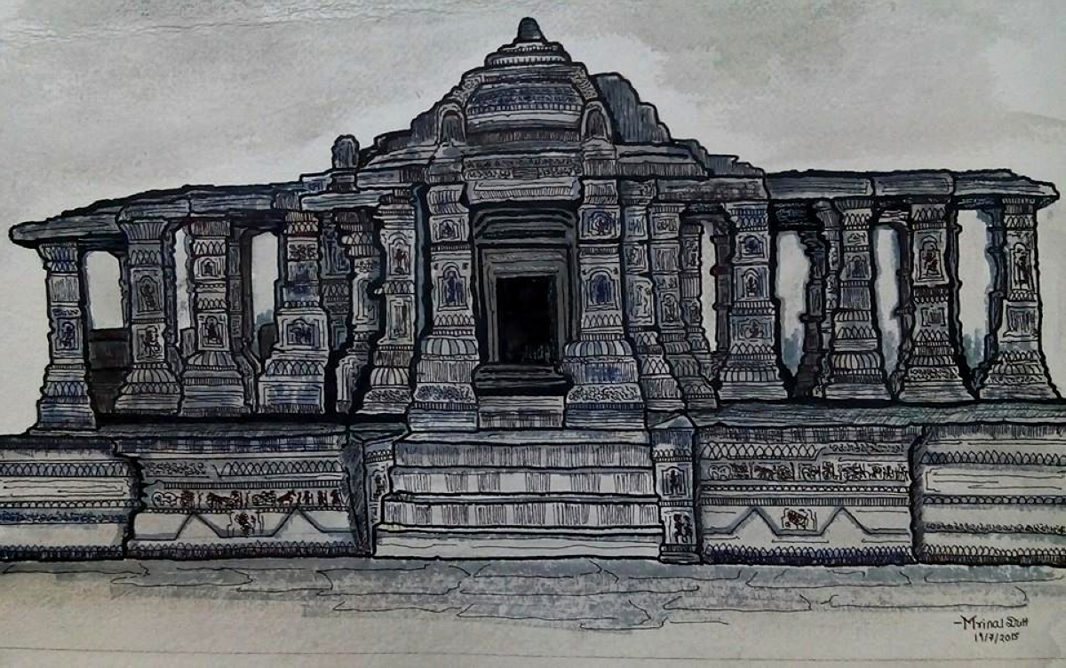 Ancient India temple- architectural 7892