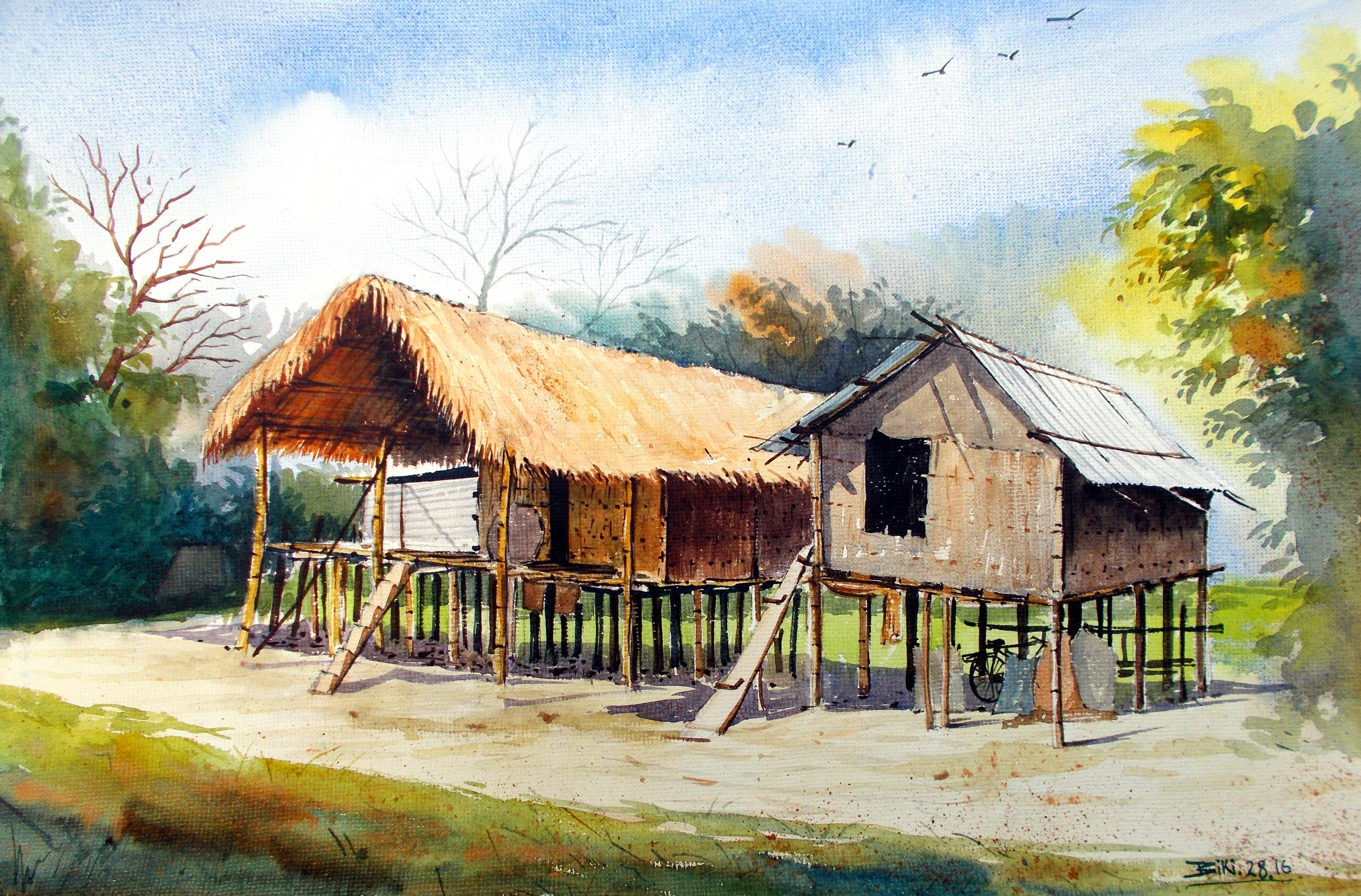 Mishing Traditional house of Assam 7948