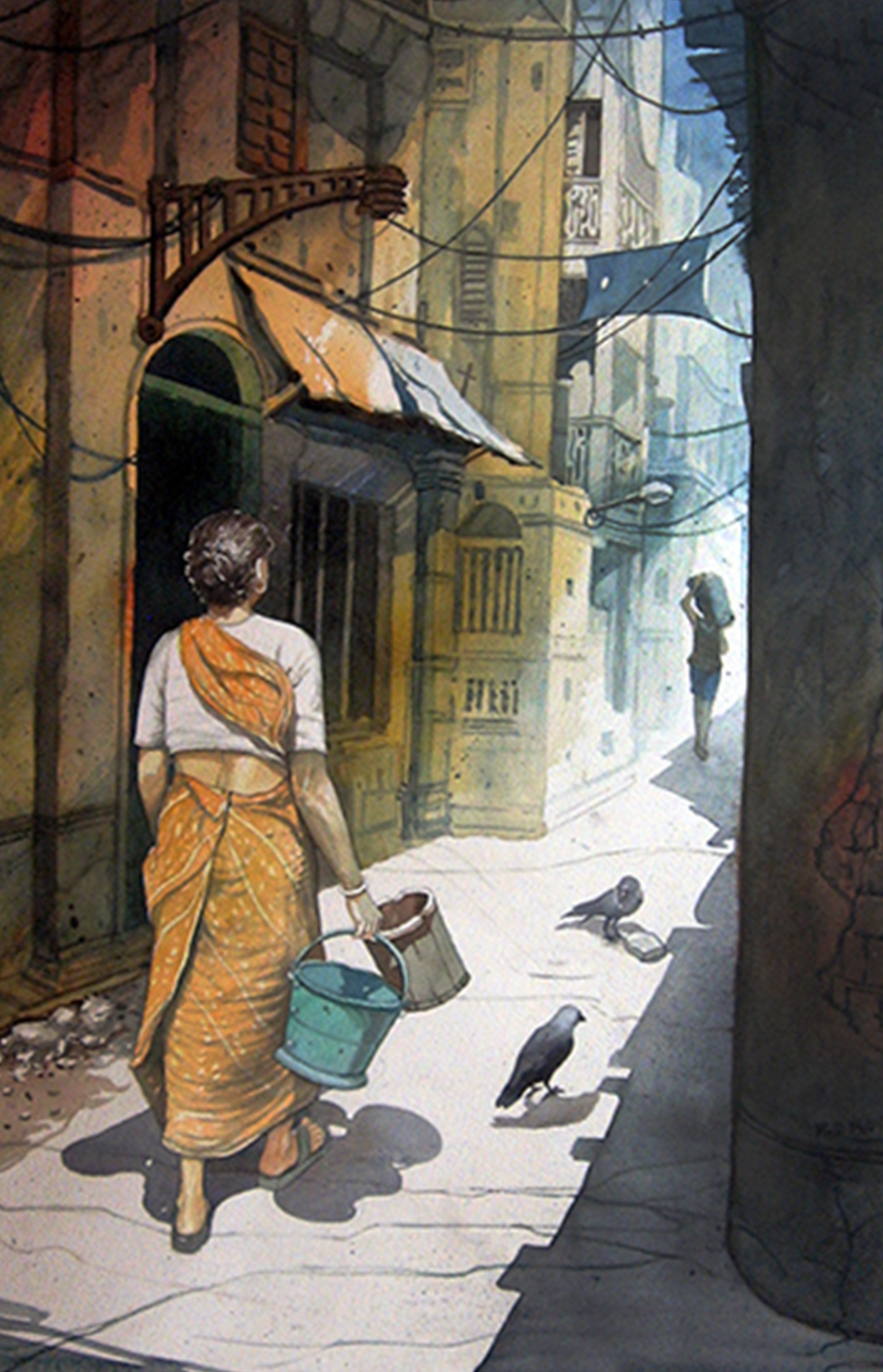 Buy Painting Kolkata Artwork No 8576 by Indian Artist R.d. Roy for Simple Street Painting  45hul
