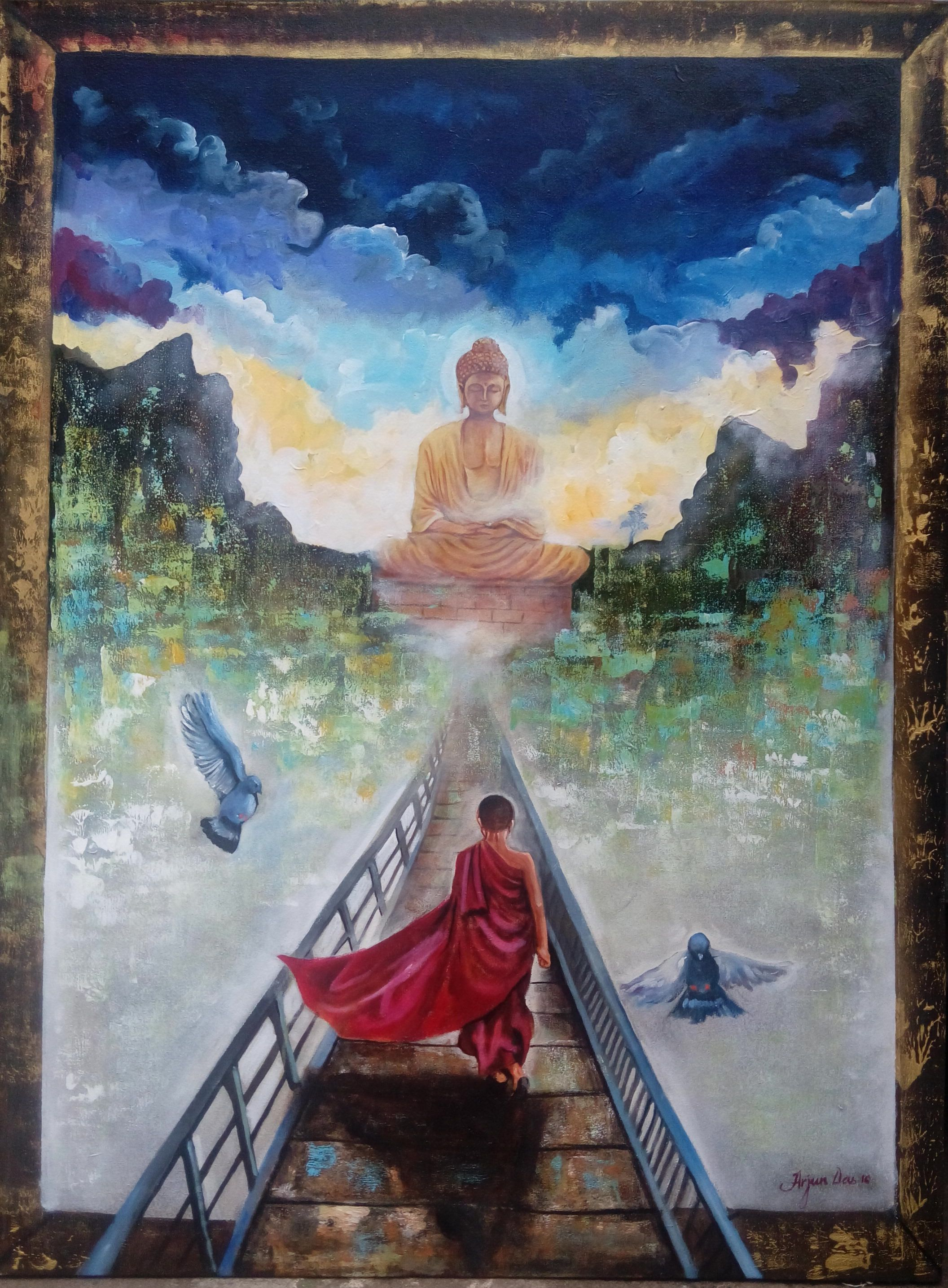 Monk and  Buddha 9475