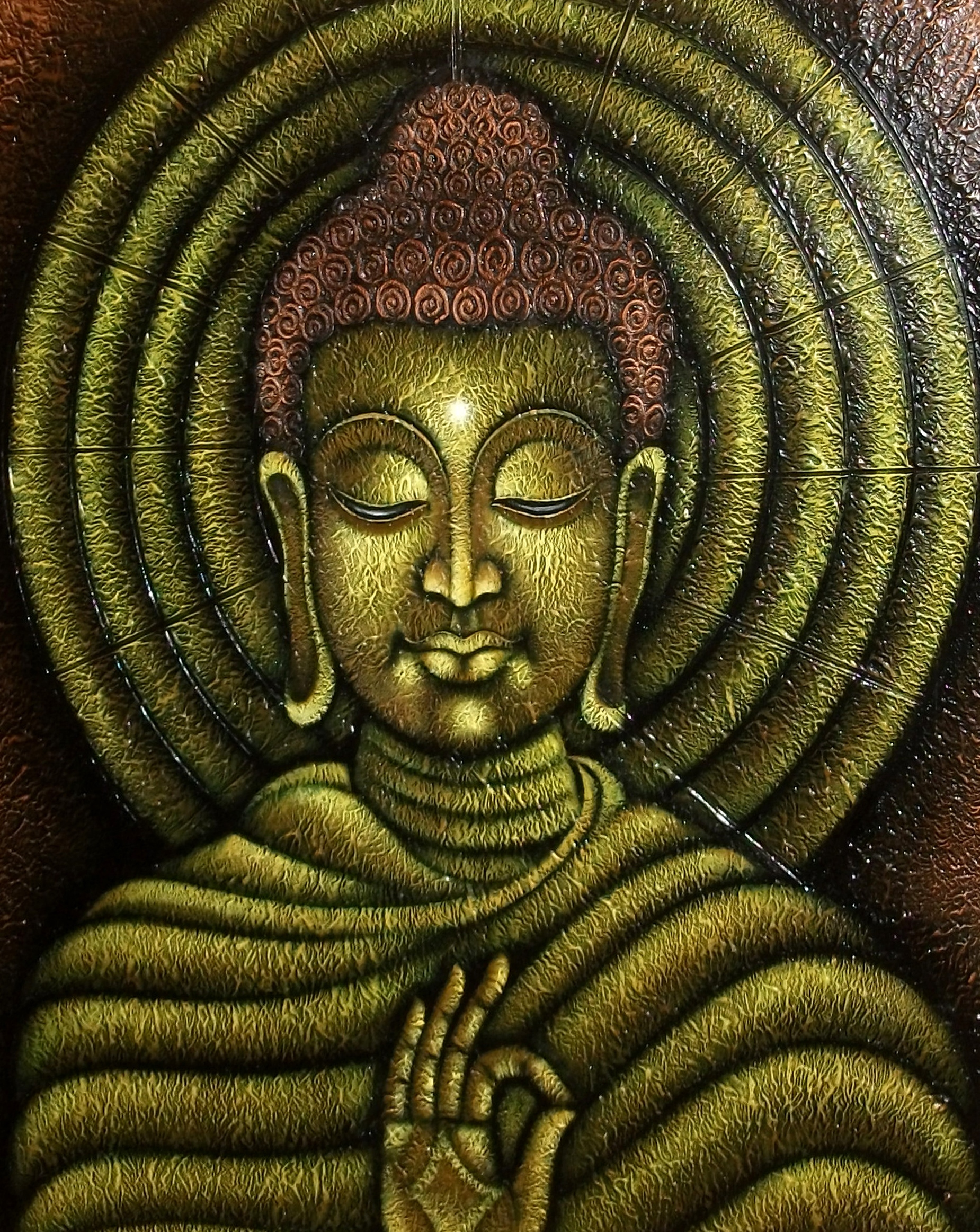 Lord Buddha with yellow circle 9493