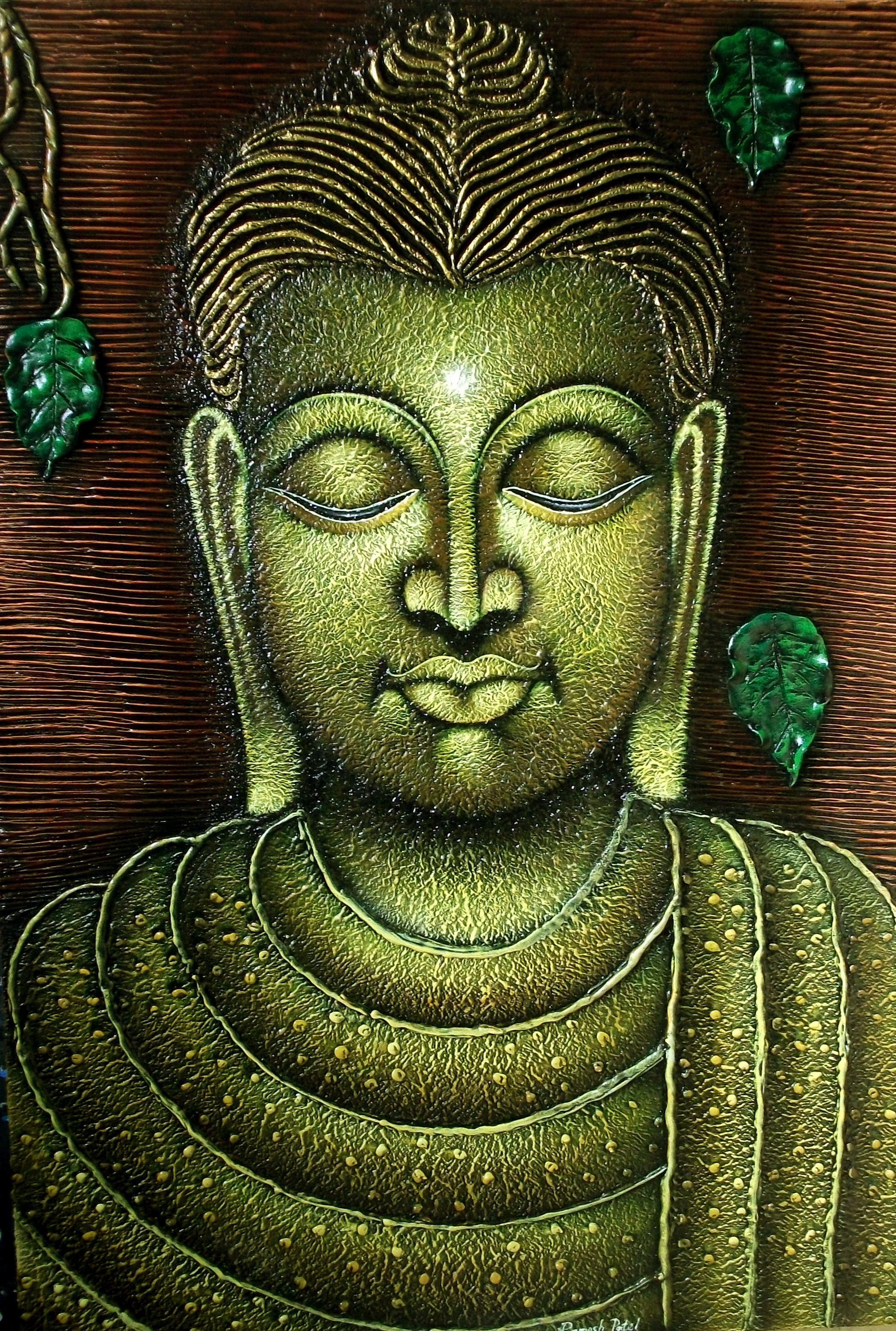 Lord Buddha with Peepal leaf 9494