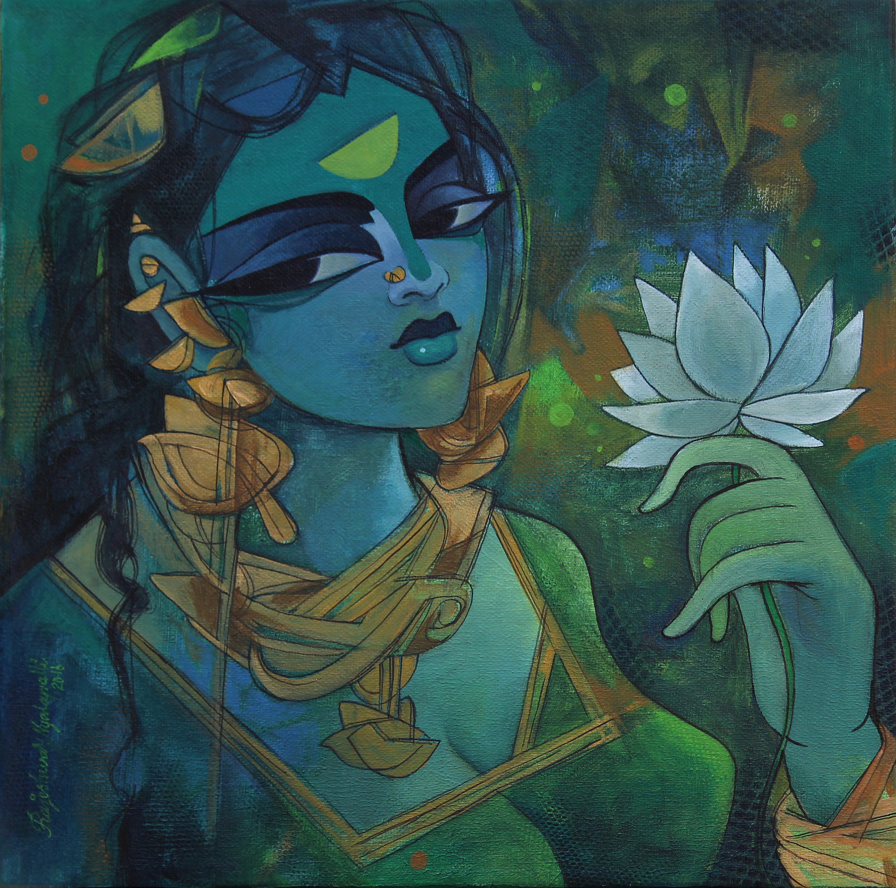 Woman with Lotus 10385