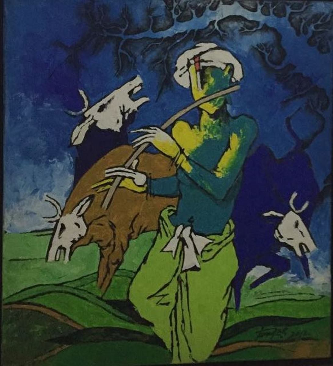 Krishna with cows 10403