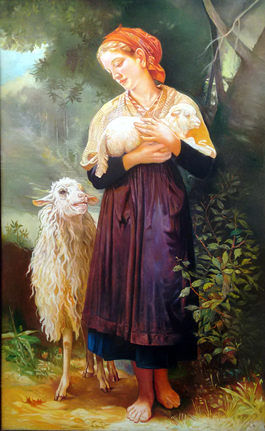 A lady with lamb 10562
