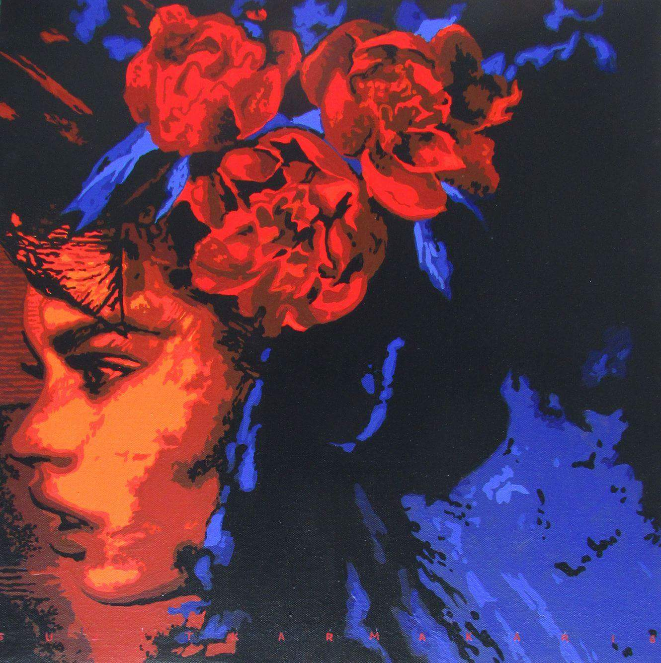 Woman with red flowers 10944