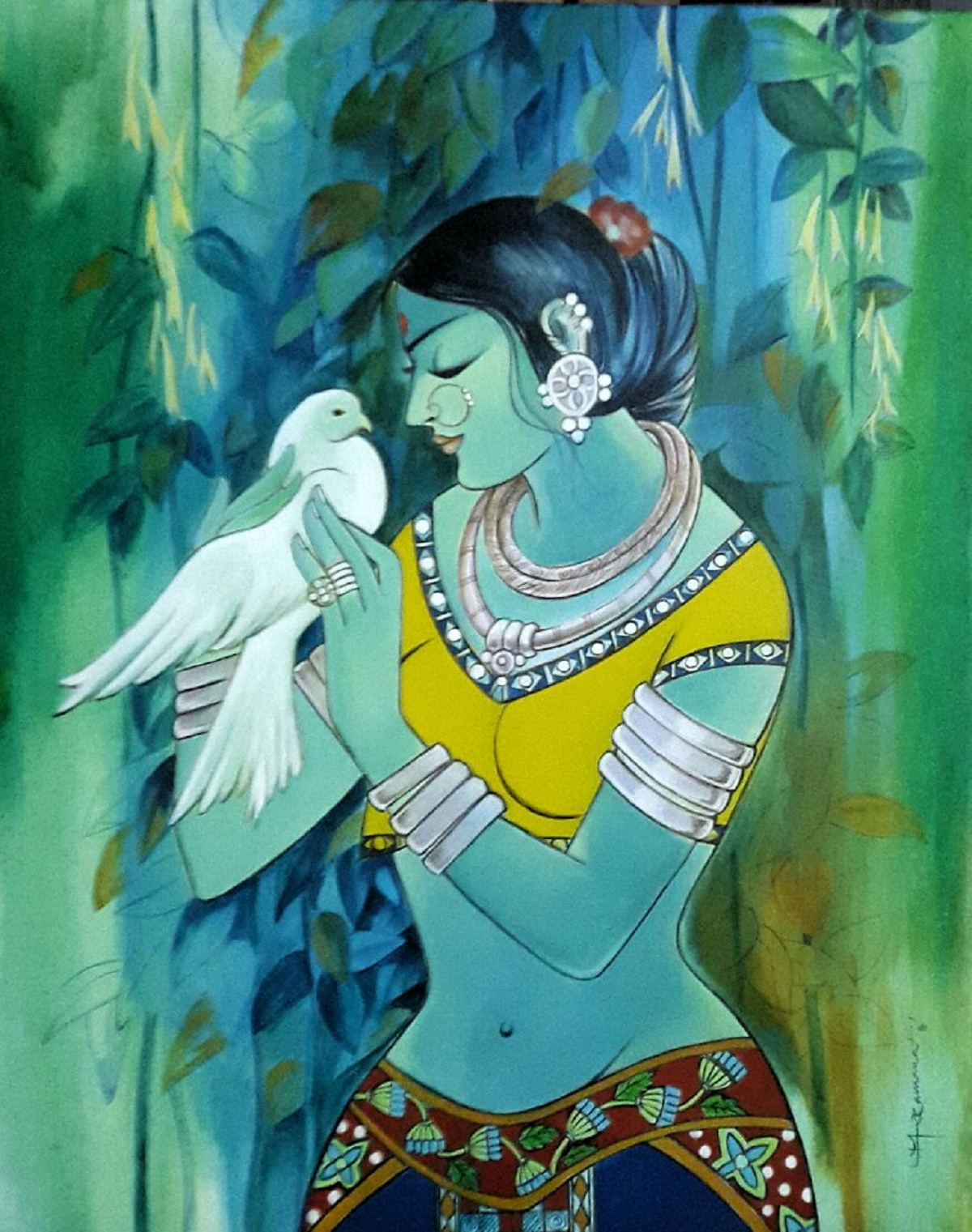 Girijan woman with bird 11129