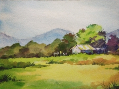 House between mountains 11307