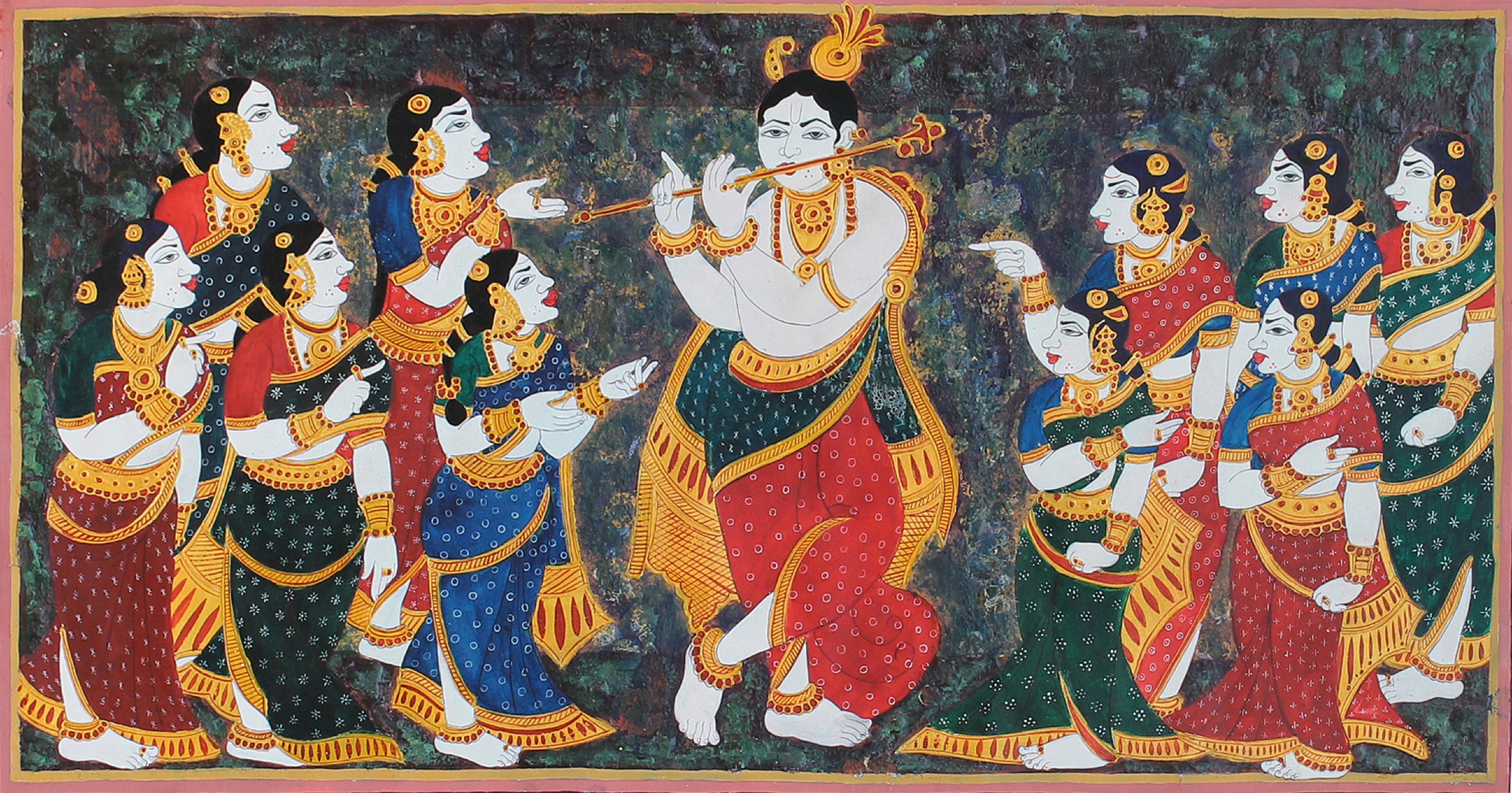 Krishna playing flute for Gopis 11381