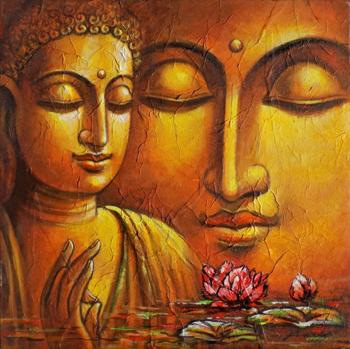 Buy painting buddha artwork no 11407 by indian artist for Buddha mural paintings