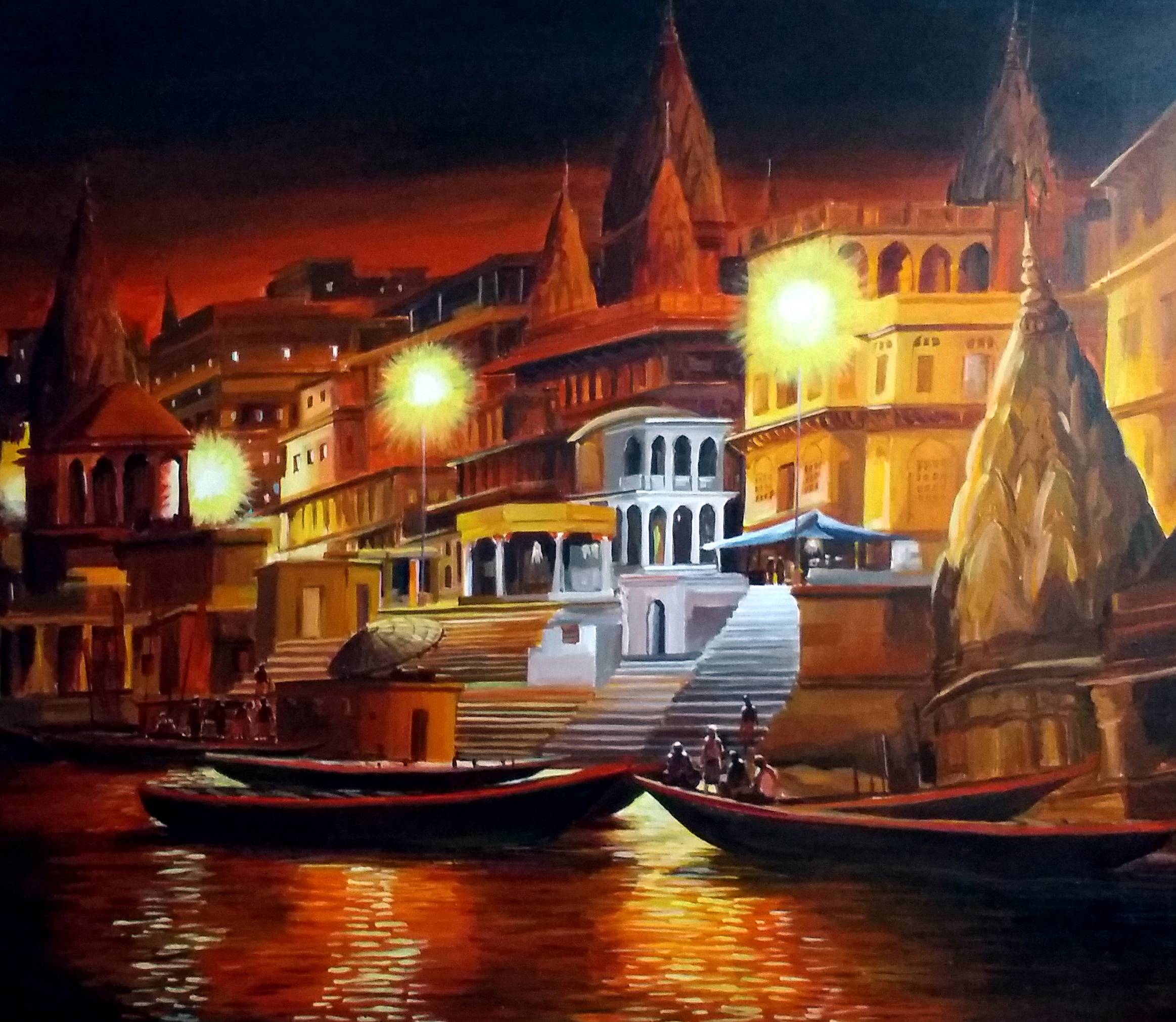 Varanasi Ghat at Night 11732
