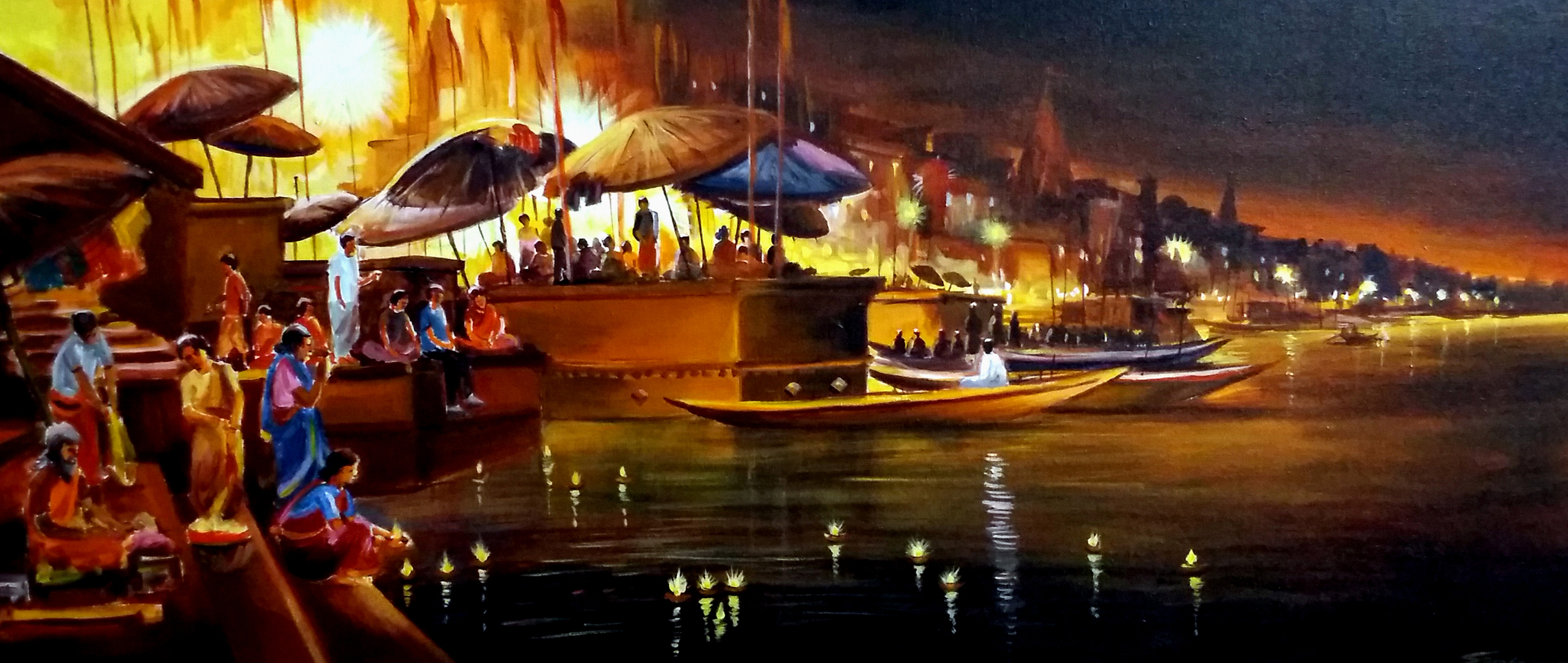 Festival Night at Varansi Ghat 11738