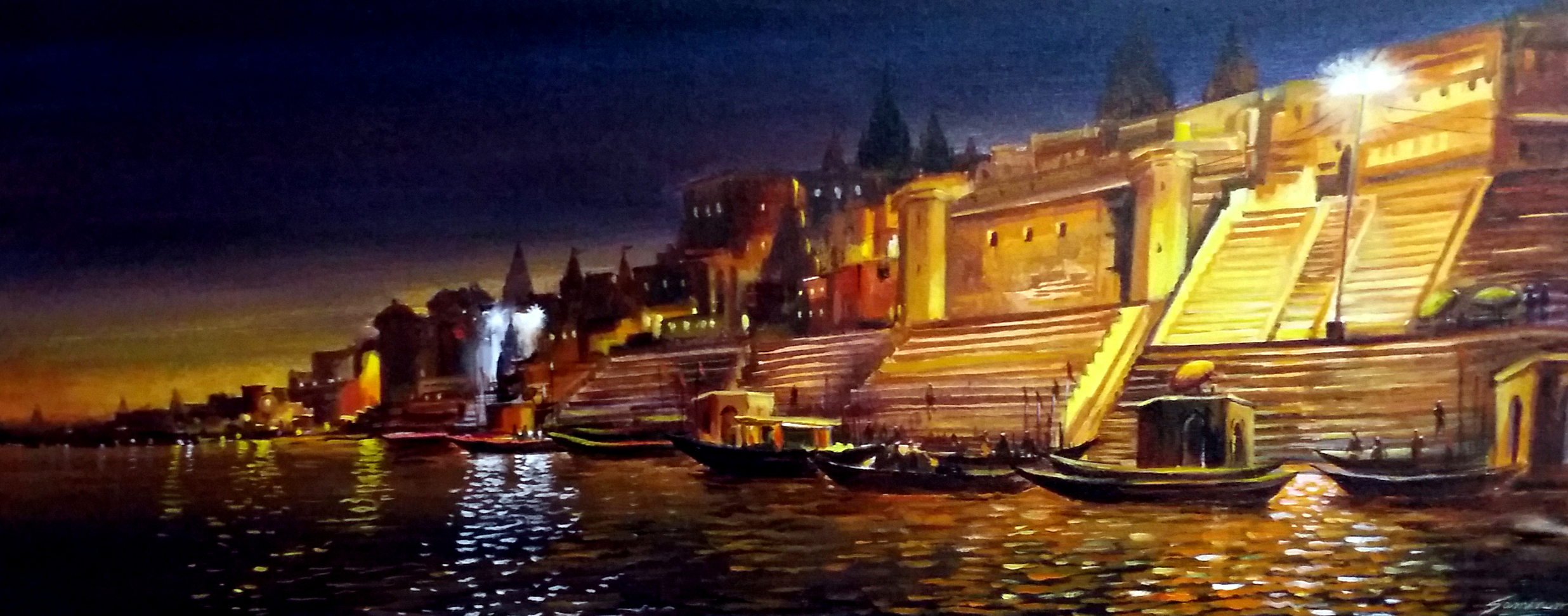 Night Varansi Ghat 11739