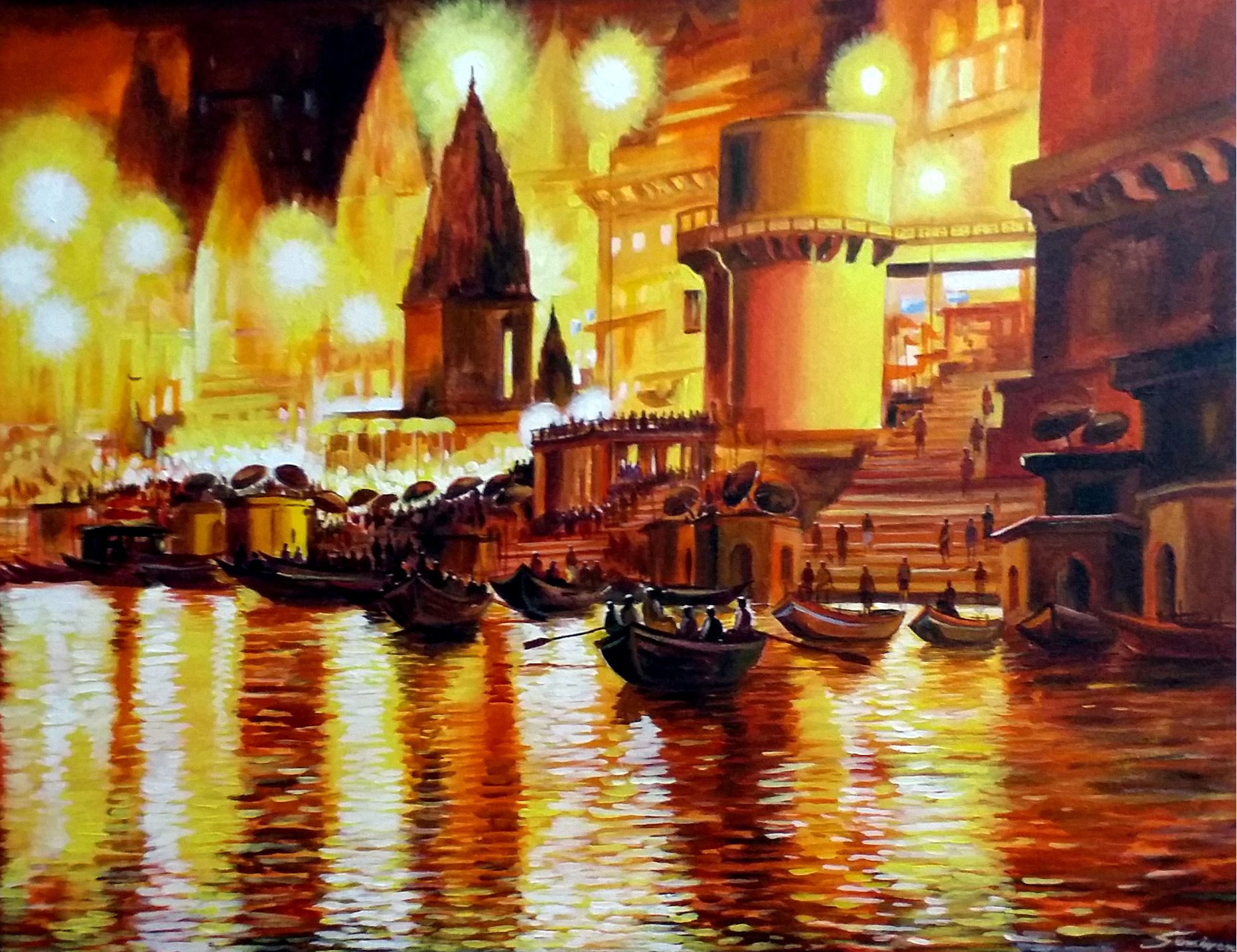 Night Light Varanasi Ghat 11740