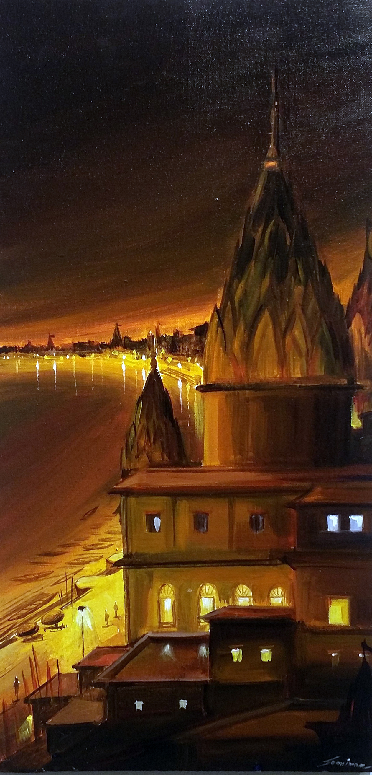 Night Varanasi Ghat From Top 11742
