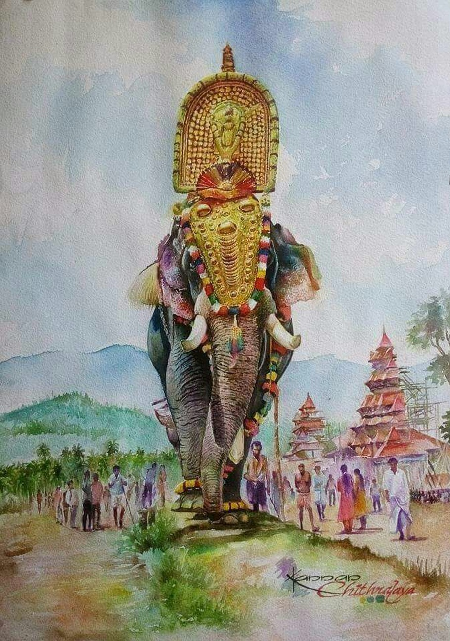 Devotees and elephant 12894