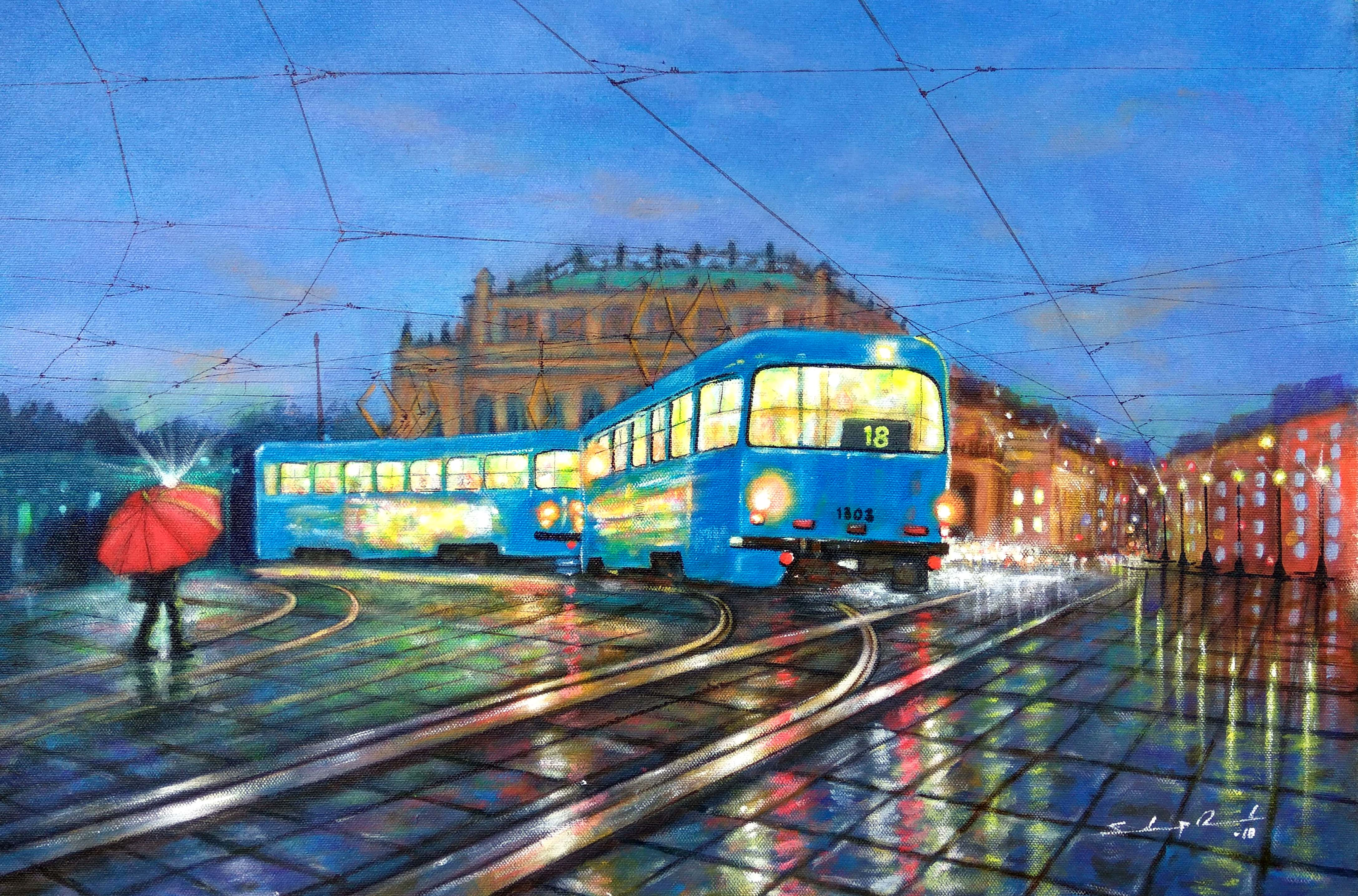 Blue tram in city of joy 13946