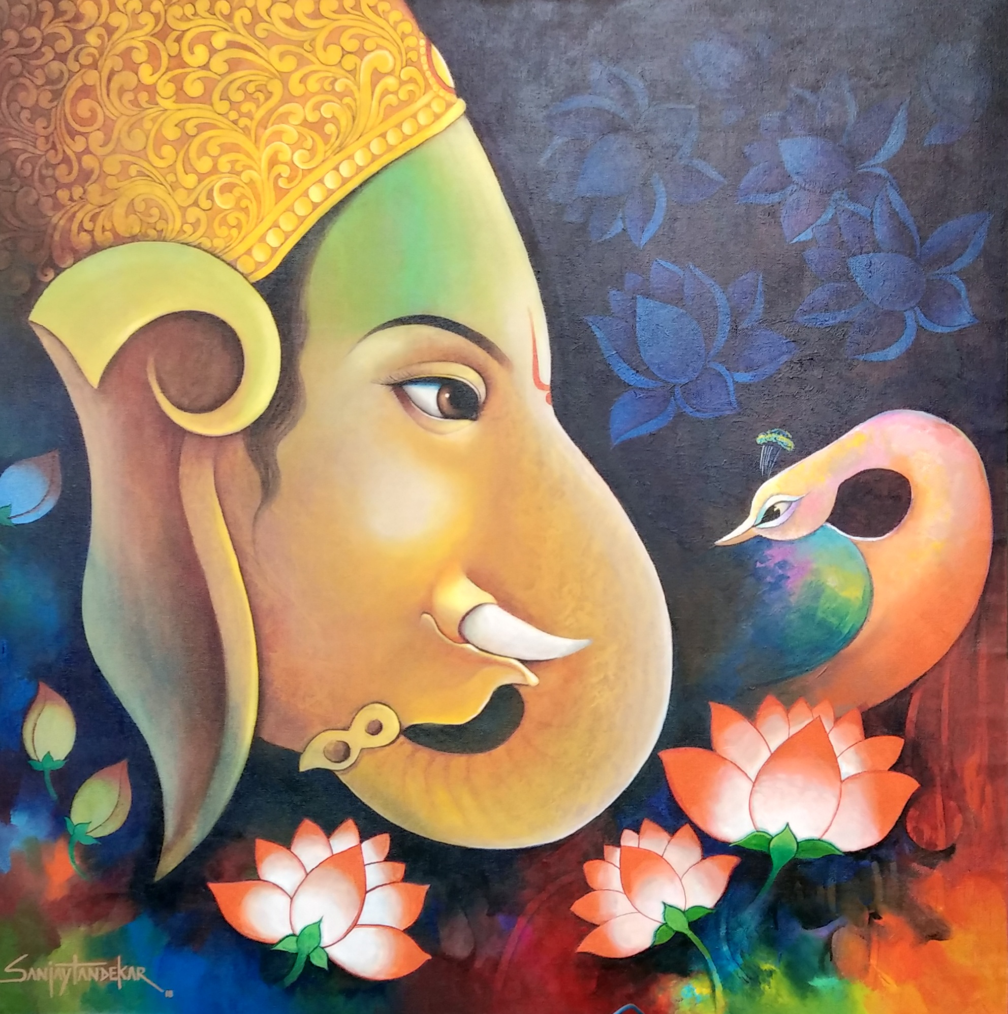 Lord Ganesha with peacock 2 15259