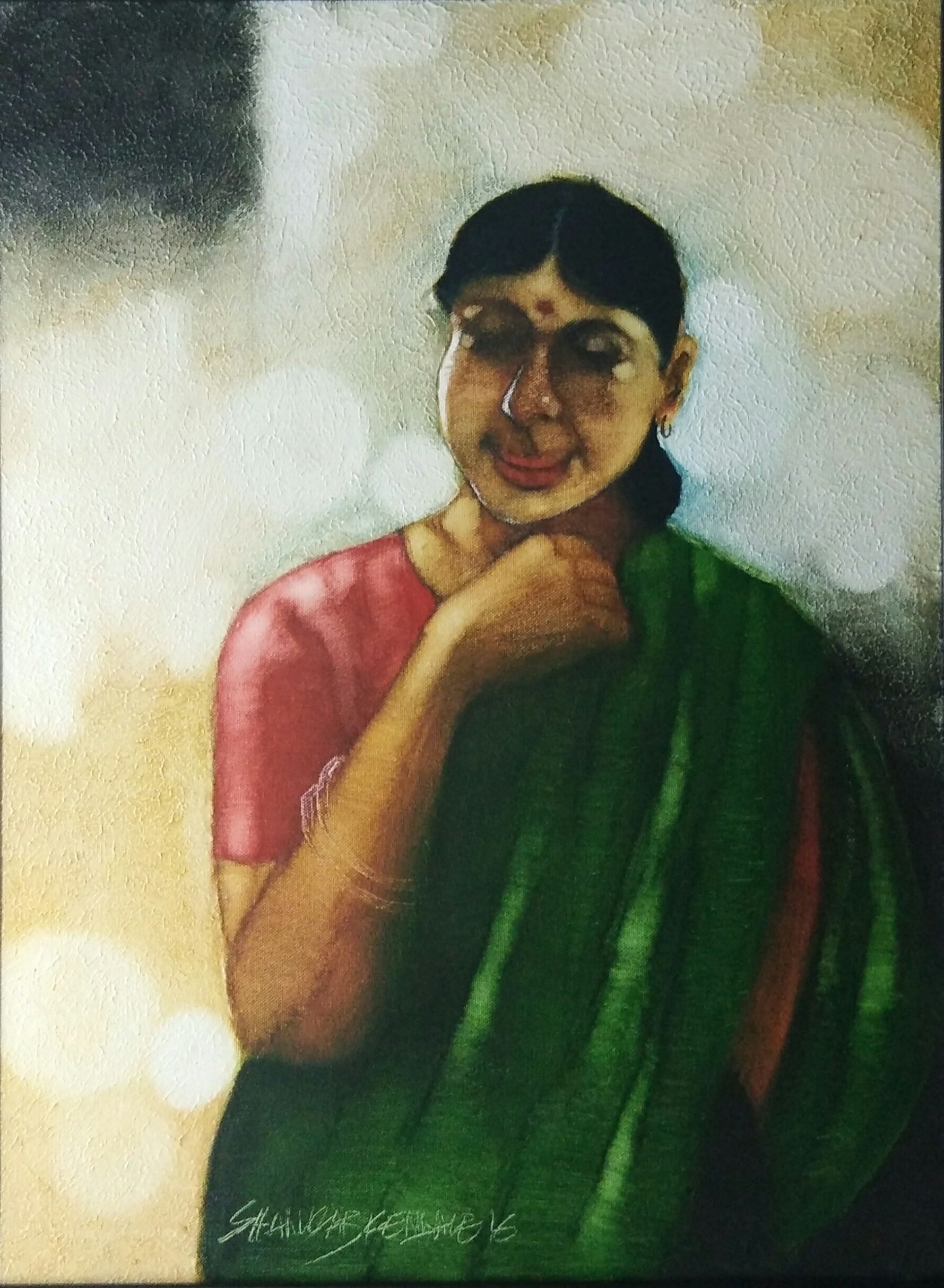 woman in greensaree 15687