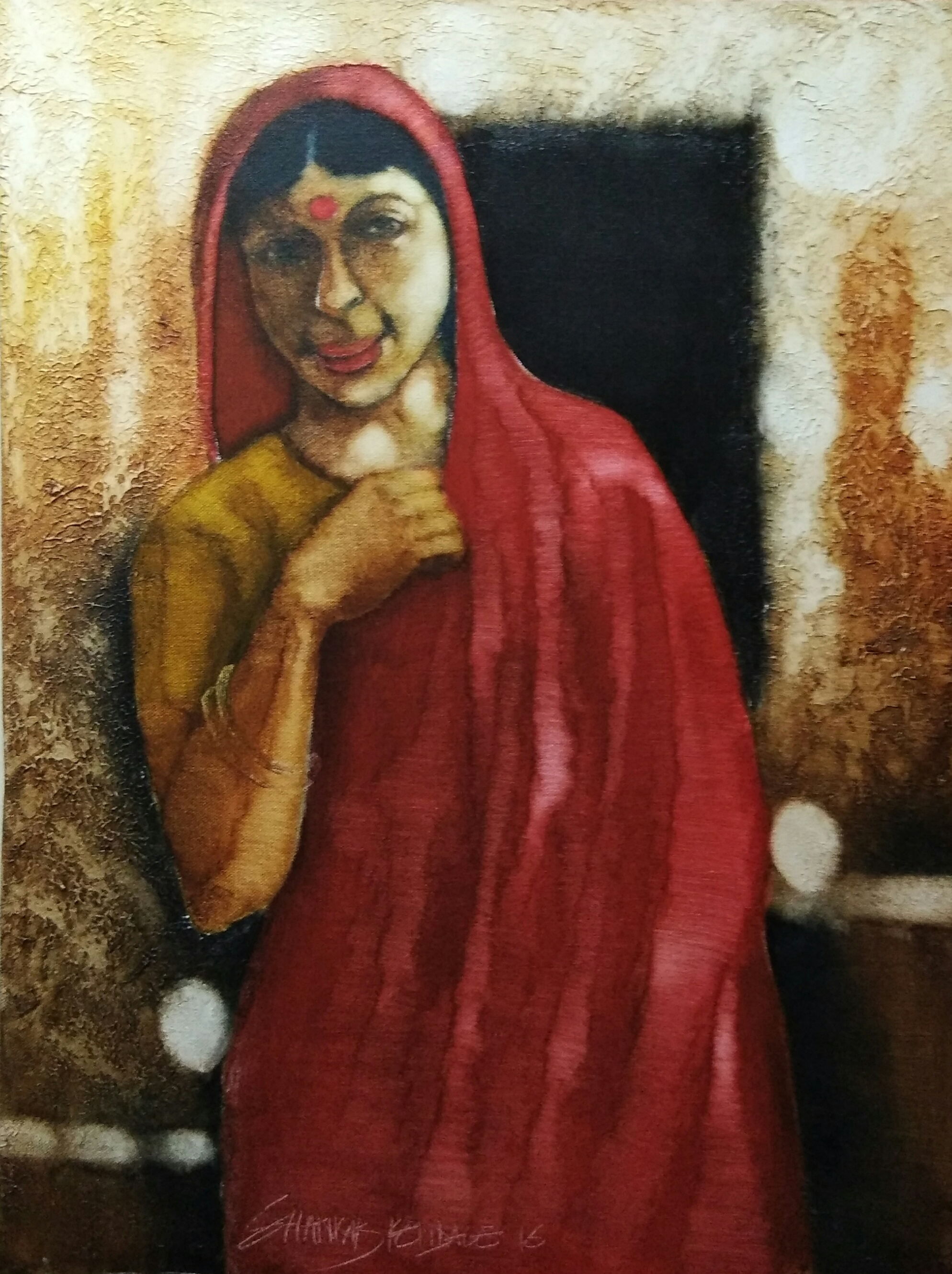 woman in red saree 15773