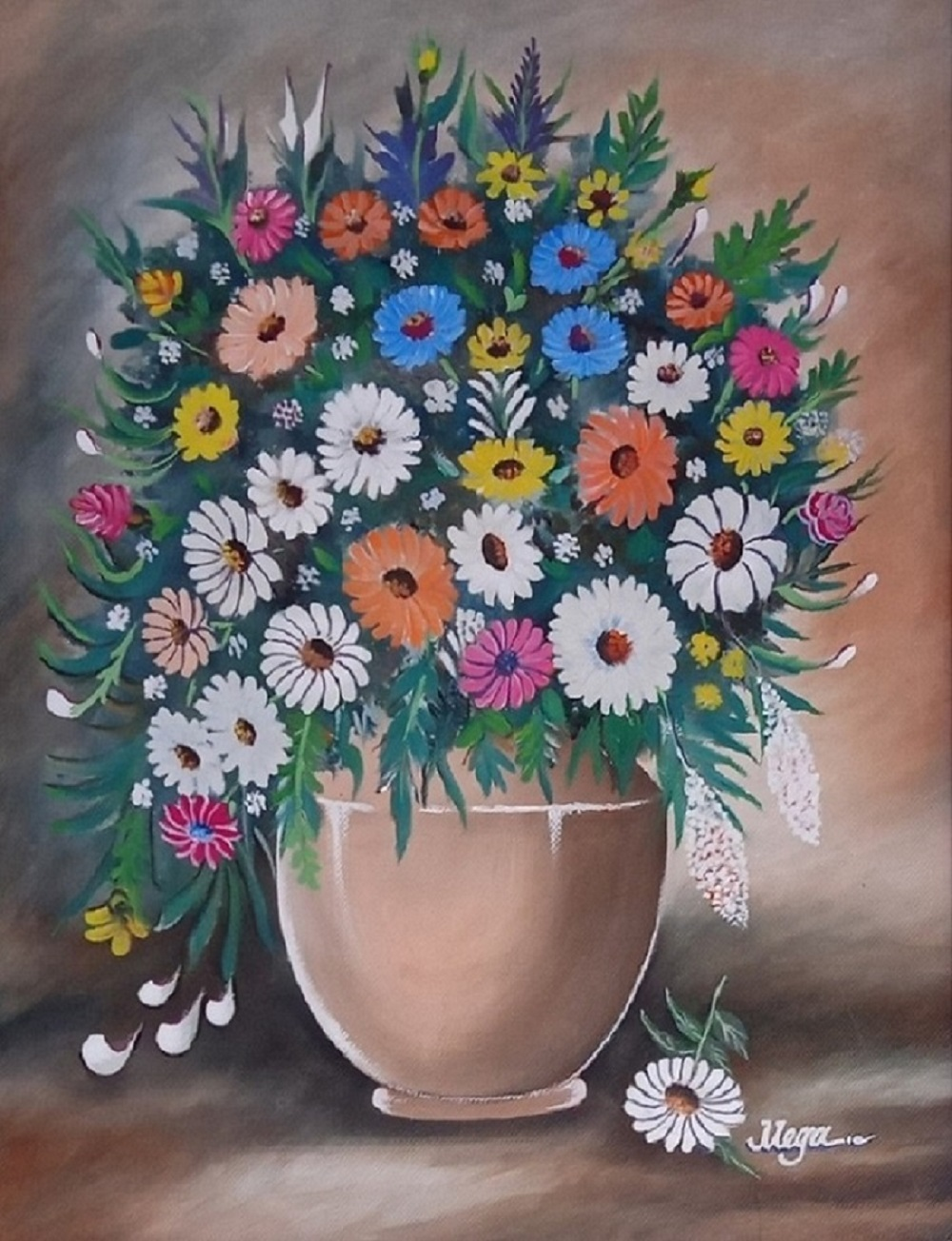 Flowers In A Pot Painting 16038