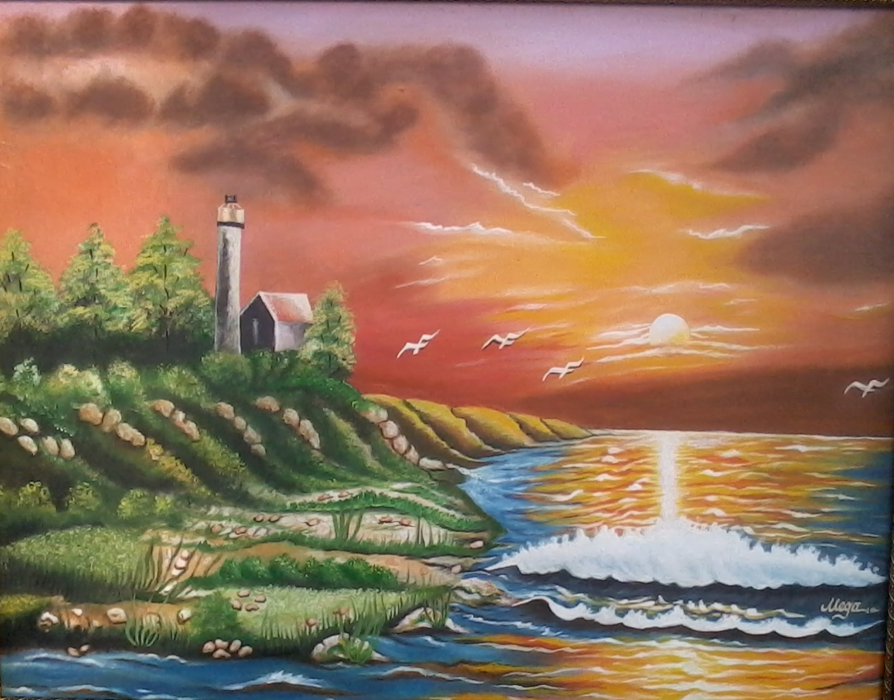 Sun Rise Light House Oil Painting 16045
