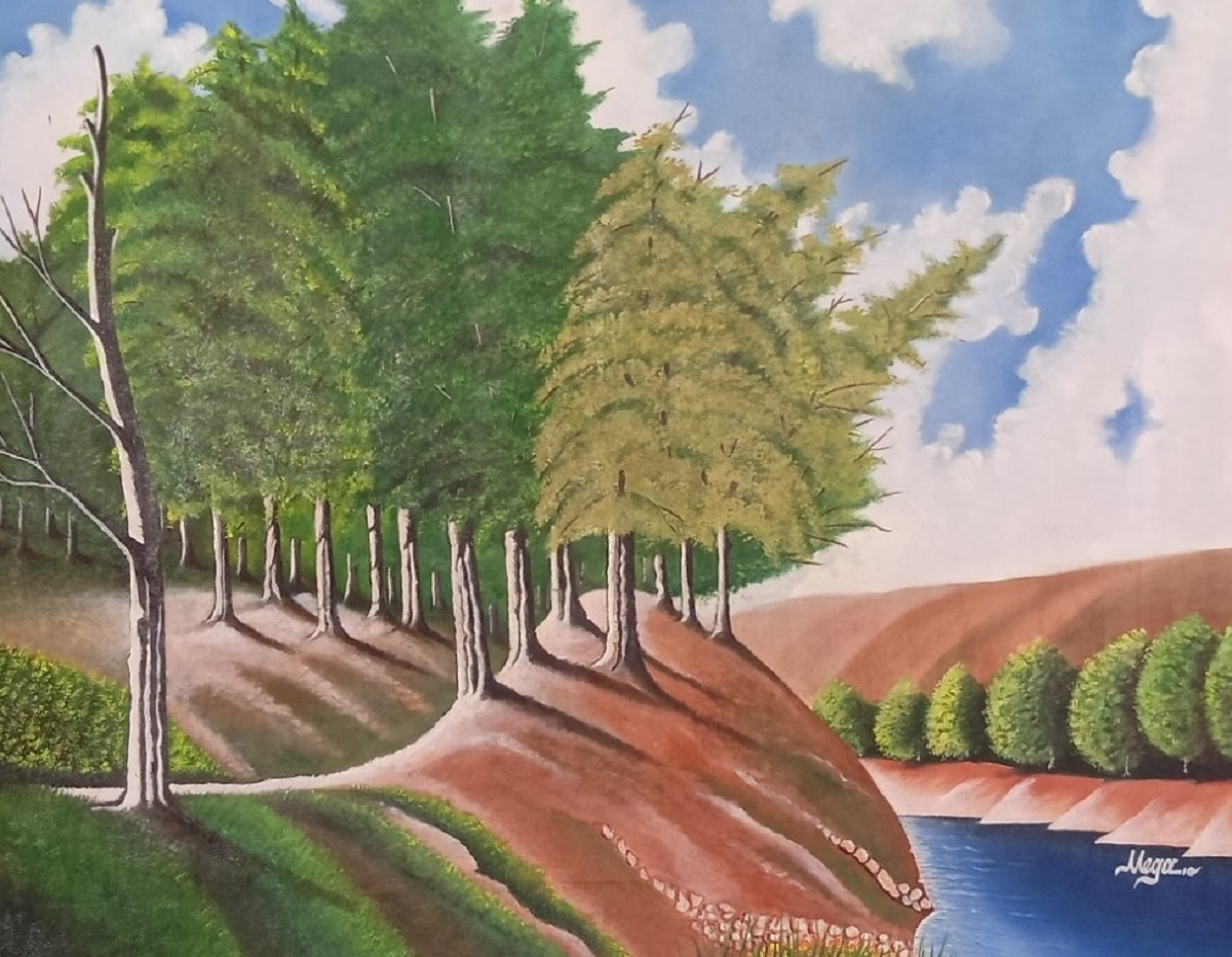Trees at River Bank Oil Painting 16047