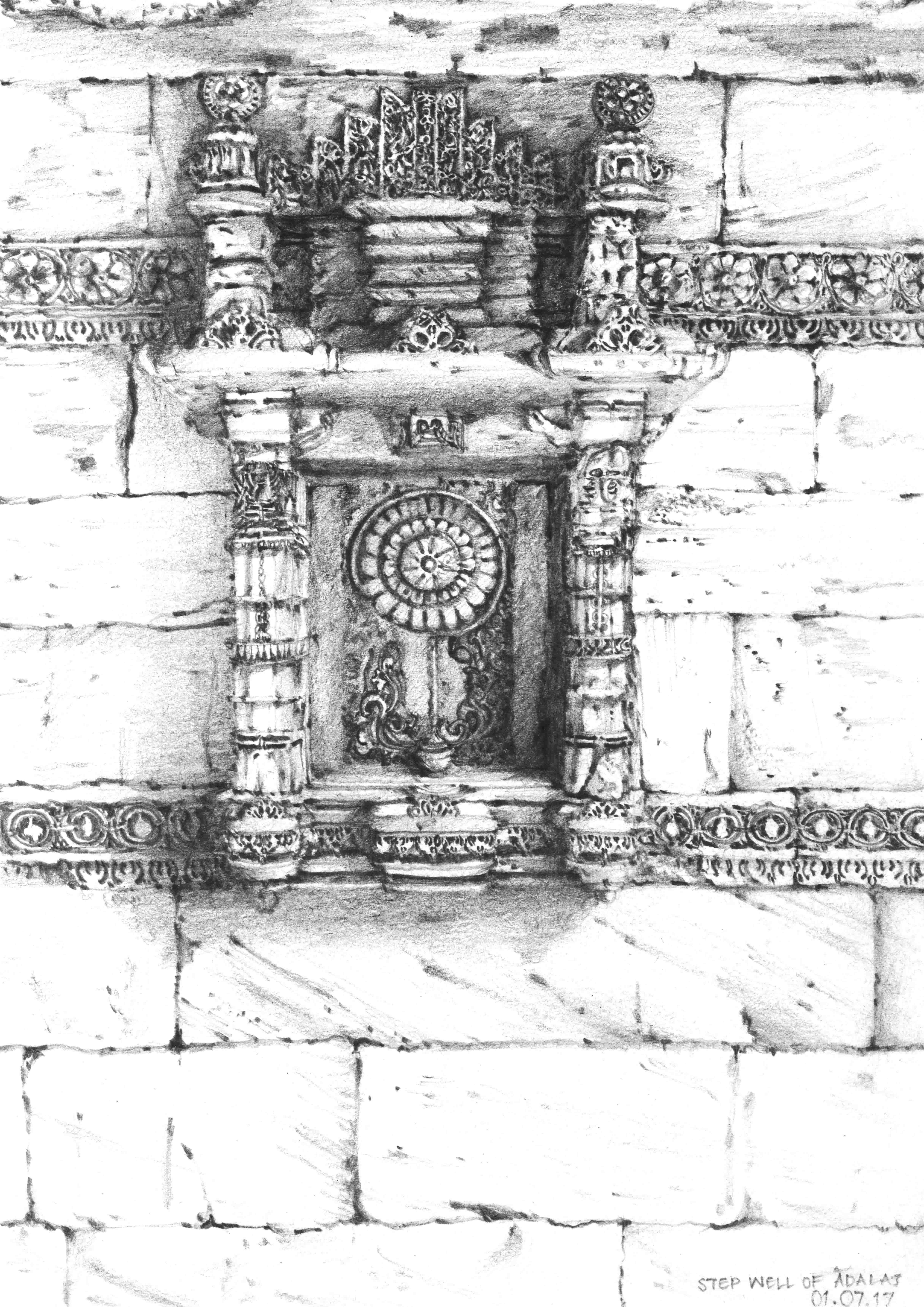 Step Well of Adalaj Wall 16733
